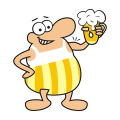 man and beer, mascot