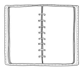 blue notebook vintage cute hand drawn line art