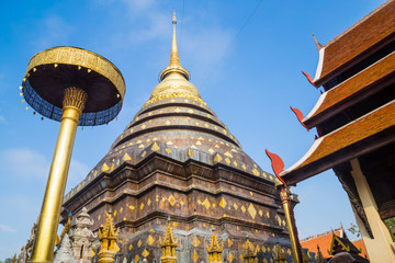 Wat Phra That Lampang Luang with blue sky, Thailand