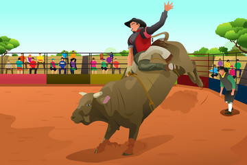 Rodeo rider in an arena