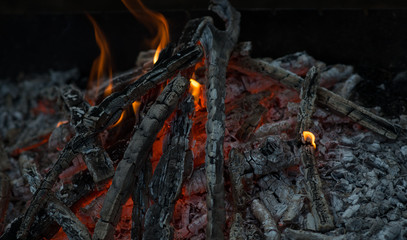 Beautiful coals after fire