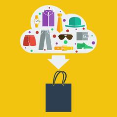 Vector shopping bag man