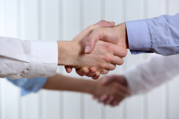 Business handshake on light background