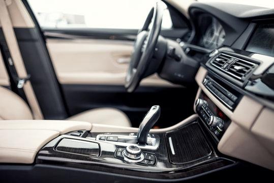 Modern beige and black interior of modern car