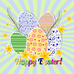 Greeting card for Easter with painted eggs and daffodils