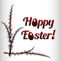 Greeting card for Easter with branches of willow