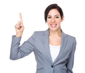 Brunette Businesswoman with finger point up