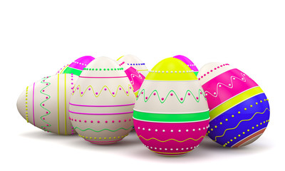 colorful painted Easter eggs. On White background