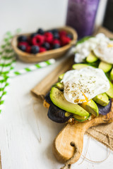 Healthy sandwich with avocado and poached eggs