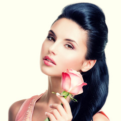 Wall Mural - Sensual beautiful woman with pink rose.