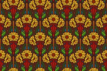 art nouveau sunflowers