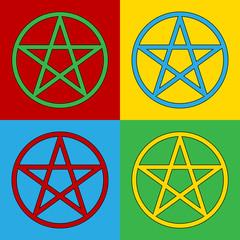 Pop art pentagram symbol icons.