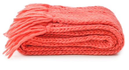 Red knitted scarf folded isolated