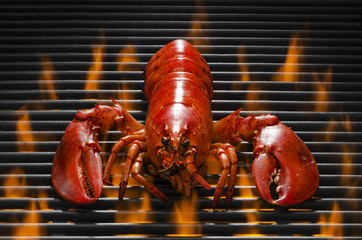 Lobster on aHot Faming Grill