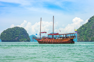 A modern junk for tourism in Phang Nga bay, Southern Thailand.