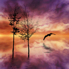 Poster Crimson Beautiful landscape with birds