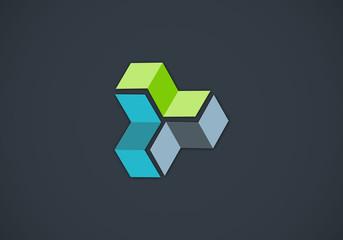 box abstract 3D construction vector logo