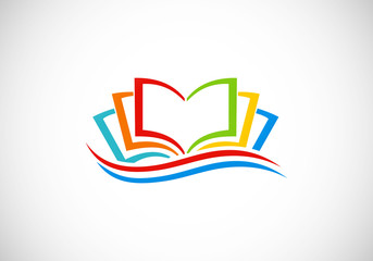 books colorful abstract vector logo