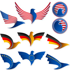Bird Fly Flag Sign Symbol Insignia Medal United States Germany