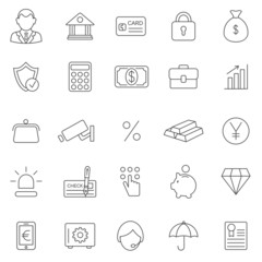 Bank line icons set.Vector