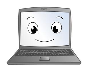 Funny cute laptop cartoon illustration