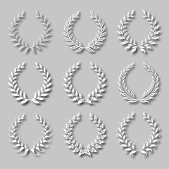 Set of vector laurel wreaths