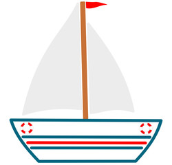 Cute boat cartoon illustration