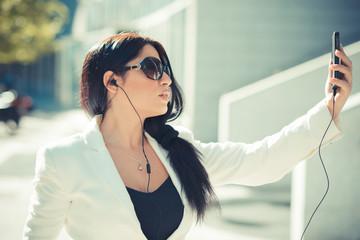 beautiful long black hair elegant business woman using smartphon