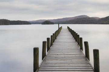 Wooden jetty  in the lake district Wall mural
