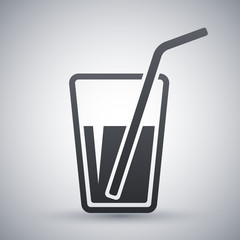 Vector glass with drinking straw icon