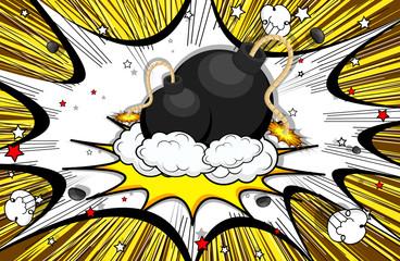 Retro Bomb Clouds Burst Background