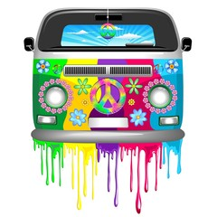 Photo on textile frame Draw Hippie Van Dripping Rainbow Paint