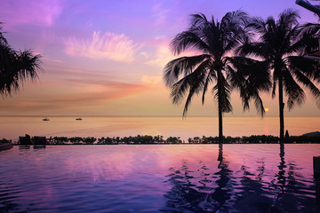 sunset sea beach palms pool