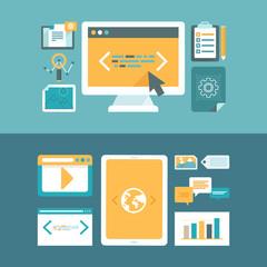 Vector web development and digital content marketing