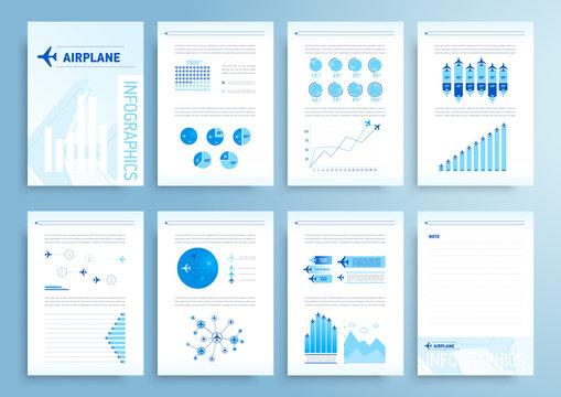 Infographics elements airplane report brochure