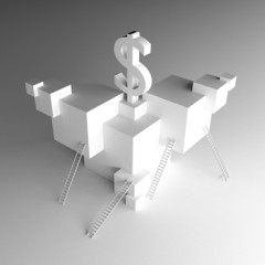 Dollar art 3d illustration grain