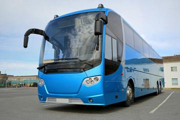 Blue Bus Waits for Passengers