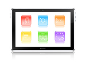 Multimedia tablet computer concept. Vector illustration