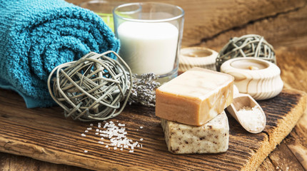 Spa and Wellness Setting on Wooden Background with Natural Homem