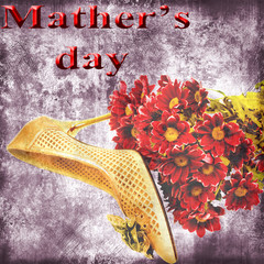 Beautiful female shoes, and flowers Vintage background
