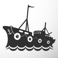 Silhouette fishing vessel