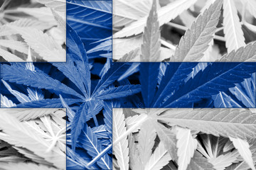 Finland Flag on cannabis background. Drug policy.