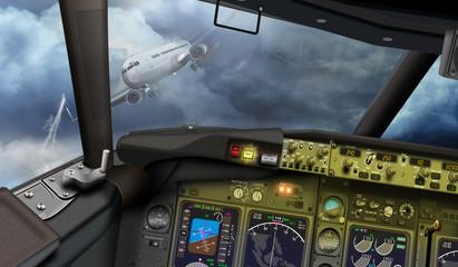 Cockpit, Passagierflugzeug auf Kollisionskurs, Mayday