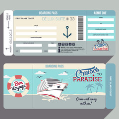 Cruises to Paradise boarding pass design