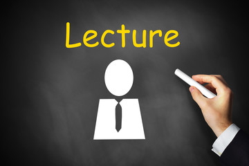 hand writing lecture on black chalkboard