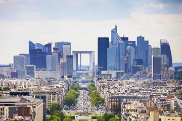 La Defense business area, Grande Armee avenue. Paris, France Fototapete