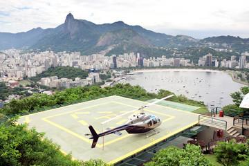 helicopter on landing pad Rio de Janeiro