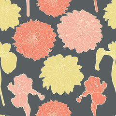 Amazing seamless floral vintage grey japanese spring  pattern