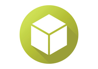 green box cube flat logo icon vector