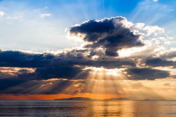 Crepuscular rays on Tyrrhenian sea